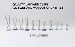 10 - 100 LANYARD STEEL SILVER SPRING CLIPS CLASPS HOOK VARIOUS SIZES AND QUANTIT