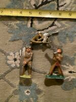 Lot Of 3 MANOIL Toy Lead Soldier Kneeling Firing RARE Barclay