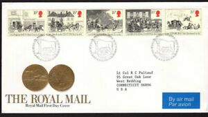 GB FDC Scott 1062-1066, 1984 strip of 5 Mail Coach, folded