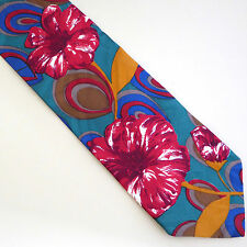 Bugati Silk Necktie Floral Abstract Print Jacquard Weave Red Green 57 x 3.75 USA