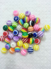 100PCS Acrylic Stardust Metallic Glitter Round Spacer Loose Beads Gift 8mm