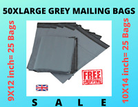 "50 Mailing Bags 9x12"" 10x14"" Large Grey Plastic Postal Garment Packing Poly Bags"