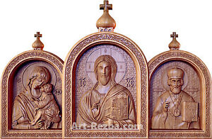 "20"" Orthodox Wooden Carved Triptych God Almighty, HOLY MARY Donskaya, Nicolas"