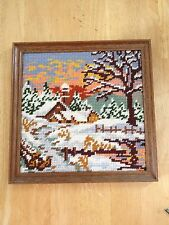Winter Cabin Cross Stitch Framed Kitsch Snow Trees