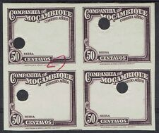 MOZAMBIQUE COMPANY 1935 50C FRAME ONLY IMPERF PROOF BLOCK MNH **