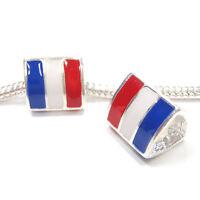 3 Beads - France French Flag Silver European Bead Charm E1171