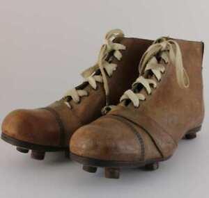 Jen Goal-Ward Football Boots. Antique Vintage Brown Leather Soccer Shoes c1940