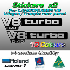V8 turbo D4D Stickers for Toyota Landcruiser VDJ 76 78 series LARGE decal (Pair)