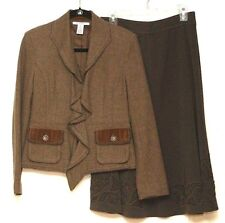 CAbi Coordinates 4 Wool Blend Long Sleeve Jacket Applique Brown Mid-Calf Skirt