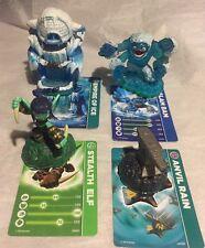 Skylander Giants Spyro Figures - Lot of 4 w Matching Cards Elf Ice Bam Anvil