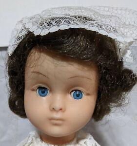 "FIBA Italy Blown Plastic Vintage 70s Brunette Bride Doll 14 1/2"" Sleep Eyes"