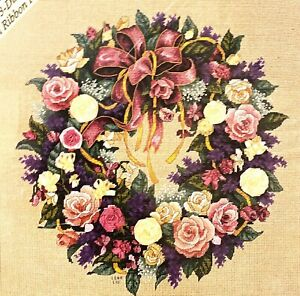 """DIMENSIONS Gold Collection """"Ribbons & Roses Wreath"""" Needlepoint Kit"""