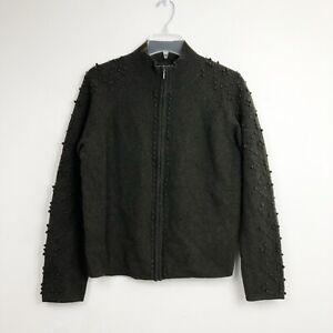 Deane & White 100% Lambs' Wool Full Zip Sweater Long Sleeve Gray Petite Large