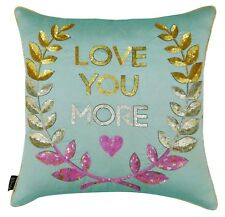 S4Sassy Decorative Blue Love You More Sequins Cushion Cover Poly Dupion Pillow