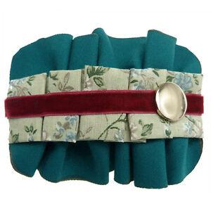 Barrette Pince à Cheveux Tissu plissé bleu canard vert bordeaux argenté