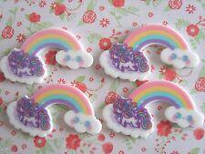 4 x Magical Rainbow Unicorn Flatback Planar Resin Embellishment Crafts Bow UK