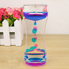 Floating Color Mix Illusion Timer Slim Acrylic Liquid Oil Hourglass Timer New