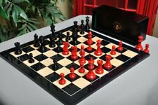 The Grandmaster Regal Series Chess Set, Box, & Board Combination - Black and Red
