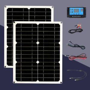 2Pcs Portable 180W Solar Panels Dual-Head USB+20A Controller for Caravan Boat UK