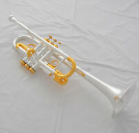 Professional Silver Gold Heavy C Key Trumpet Horn Monel Valve 5'' Bell With Case
