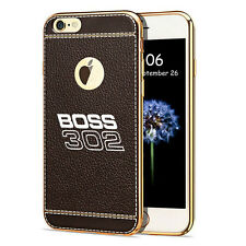 iPhone 7 Case, Ford Mustang Boss 302 TPU Brown Soft Leather Pattern