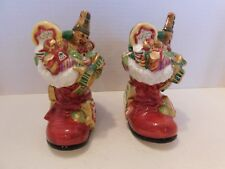 Fitz and Floyd Pair of Santa's Sweets Boot Candleholders