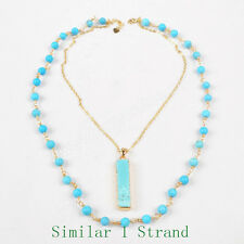 1 Strand Gold Plated Blue Howlite Turquoise & 6mm Bead Necklace AG1015