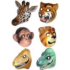 6 Plastic Animal & Dino Face Masks - Giraffe, Chimp, Lion, Tiger & 2 Dinosaurs