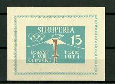 ALBANIA FOGLIETTO 1964 OLIMPIADI TOKYO VULCANO FUJI  CAT.YVERT BF 6B NON DENTELL