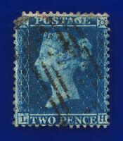 "1857 SG35 2d Deep Blue Plate 6 Spec F7 LH ""Madeleine Smith"" duplex Cat £70 cxly"