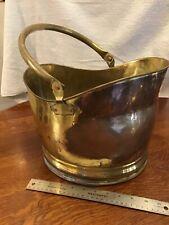 Antique Hearth Brass Copper Coal Hod Scuttle Ash Wood Bucket Fireplace Accessory