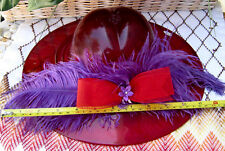 """Fenton Ruby LARGE 12"""" HAT w/Feathers & Bow Circa 2005  Made by DAVE FETTY"""