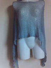 NEW THIN  KNIT PONCHO SHAWLS GREY PARTY  SCARVES VINTAGE HOLIDAY STOLE TOPS