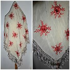 VINTAGE CREAM SILK FRINGED EMBROIDERED PIANO SHAWL WRAP SCARF 20S 30S ART DECO