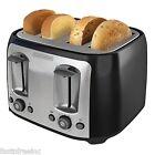 Black & Decker 4 Slice Extra Wide Slot Toaster Black Bread Bagel Bun Waffle NEW