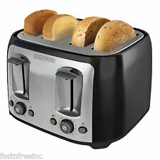 Black & Decker 4 Slice Extra Wide Slot Toaster Black Bread Bagel