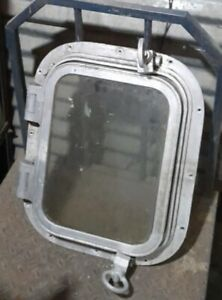 BIG RECTANGLE OLD SALVAGED AUTHENTIC MARINE ANTIQUE ALUMINUM PORTHOLE 1 Piece