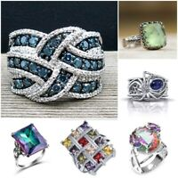 925 Silver Mystic Rainbow Topaz Women Ring Gift Wedding Party Ring Size 6-10