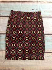 Lula Roe, CASSIE, Geometric Floral Inspired Skirt Brown Red Blue Yellow LARGE