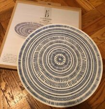"New! Ellen DeGeneres ED Chevron Cobalt Blue 12.5"" Round Serving Platter"