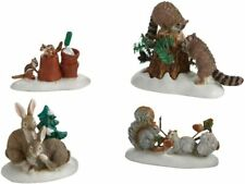 Friendly Neighbors Dept 56 Village Accessories 4020251 raccoons snow animals Z
