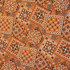 Orange - Blazin' Bandana 100% cotton fabric by the yard 36 x 44 inches