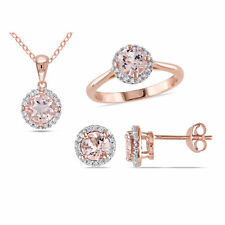 Rose Silver Morganite & 1/4ct TDW Diamond Halo Earrings Ring and Necklaces Set