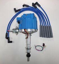 FORD Inline 6 cylinder 64-83 170,200,250 HEI Distributor & BLUE Spark Plug Wires