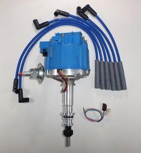 FORD Inline 6 cylinder 64-83 170 200 250 HEI Distributor + BLUE Spark Plug Wires