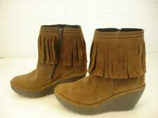 Womens 5.5 6 36 FLY LONDON Yagifly Brown Suede Leather Fringe Ankle Boots Wedge