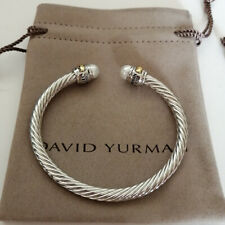 David Yurman Classic Cable Bracelet Sterling Silver &14K Gold Pearl Bangle 5mm