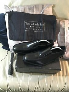 Pair Of Mens Black Leather Handmade Monk Shoes Size 9