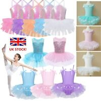 UK Girls Sequins Ballet Dance Dress Leotard Tutu Skirt Party Ballroom Dancewear