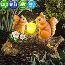 LED Solar Außen Deko Steh Lampe Eichhörnchen Baum Leuchte braun Beleuchtung Hof